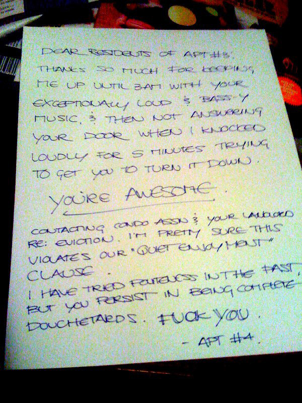 sample letter of complaint about noisy neighbours